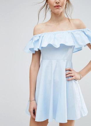 Qed london ніжна блакитна сукня з воланом