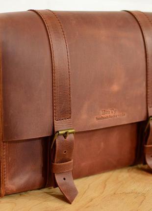 Кожа. ручная работа. кожаная мужская сумка мессенджер. портфель для документов