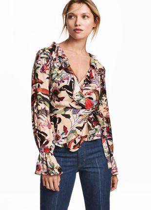 Блуза на запах из вискозы с рюшами воланами из новой коллекции h&m вискоза