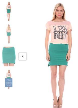 Зеленая трикотажная юбка pink woman