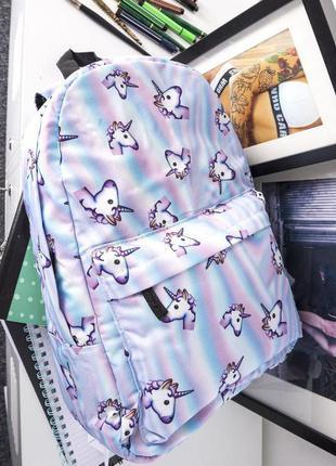 Текстильный рюкзак с единорогами голубой б070