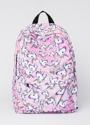 Текстильный рюкзак с единорогами unicorn розовый б070