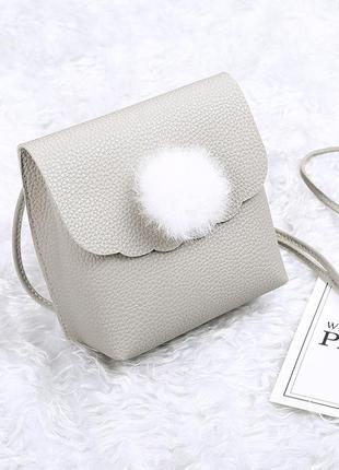 Бежевая милая сумочка с натуральным помпоном кролика + разные цвета