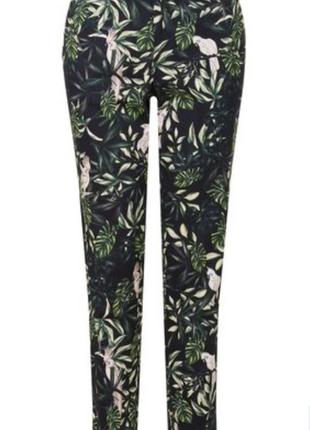 Трендовые коттоновые стрейчевые джинсы скинни с растительным принтом esmarа