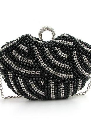 Маленькая черная вечерняя сумка клатч-бокс из жемчуга с цепочкой через плечо