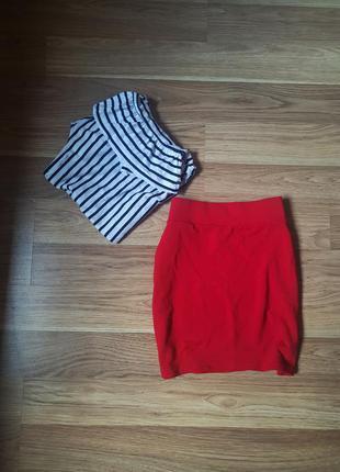 Красная юбочка с высокой талией