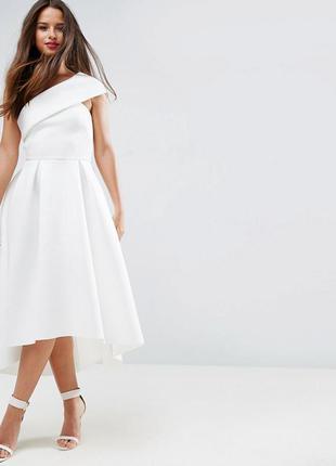 осінній розпродаж!!! asos ніжна біла асиметрична сукня неопрен доставка  сутки 909bb468e614a