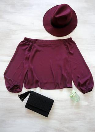Блуза new look цвета марсала с открытыми плечами, расклешенная, объёмные рукава
