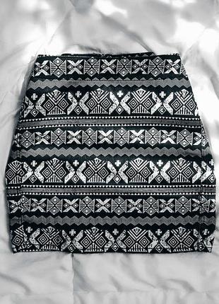 Мини-юбка в орнамент h&m