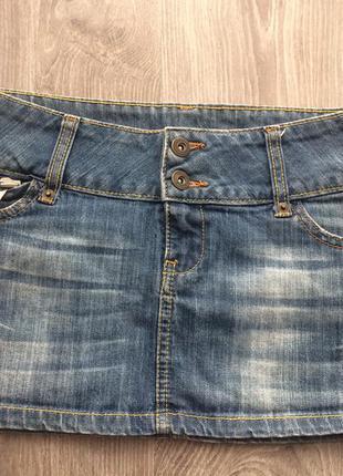 Джинсовая мини юбка mango манго оригинал мини