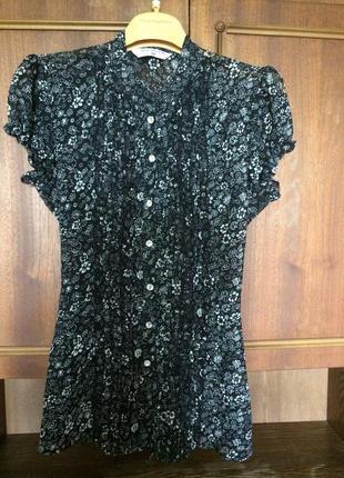 Блуза черная в белый цветочек от selected femme
