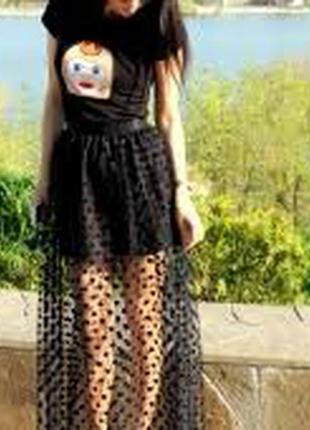 Крутая фатиновая  чёрна юбка  в горошек