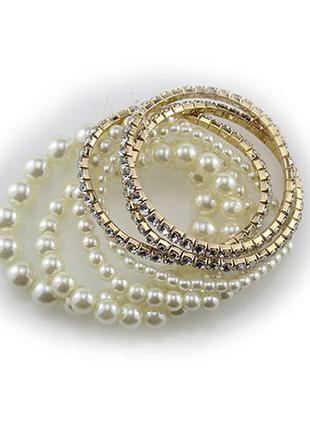 Крутой набор браслетов жемчуг и кристаллы 7шт
