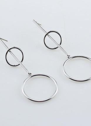 Стильные серьги кольца серебряного цвета, уценка2 фото