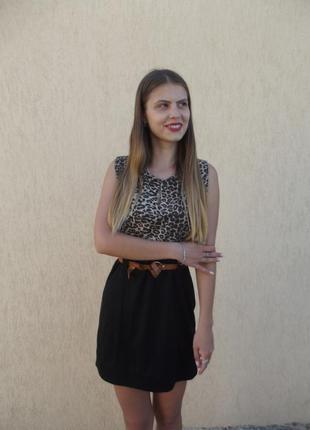 Короткое платье с леопардовым бюстом, италия