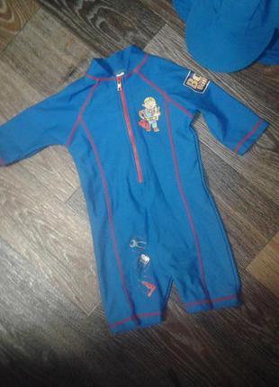 Купальник защитный костюм на мальчика + панамка  1,5- 2 года 92 см bob the builder