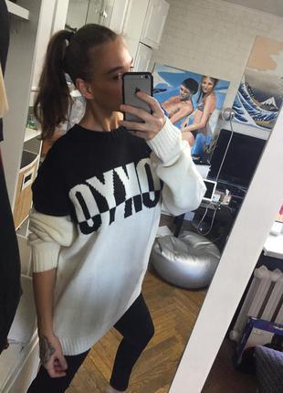 Кофта свитер свитшот черно белый новый оверсайз zara mango asos h&m5