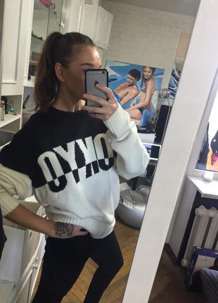 Кофта свитер свитшот черно белый новый оверсайз zara mango asos h&m4