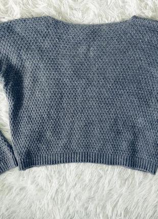 Свитер h&m укороченный серый вязаный с косами кроп оверсайз4