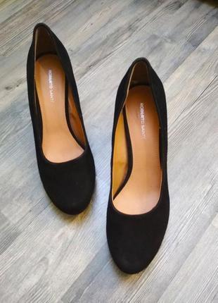 """Стильные """"замшевые"""" лодочки туфли на среднем каблуке"""