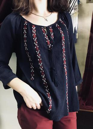 Блуза с вышивкой вышиванка бохо хлопок вишиванка