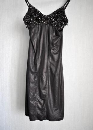 Короткое вечернее\коктельное черное платье с пайетками xs\s