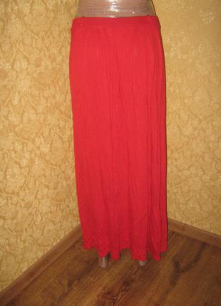 Макси длинная юбка в пол, красная юбка