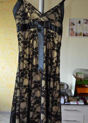Платье вечернее exclusive турция сарафан с золотой подкладкой 40р s-m