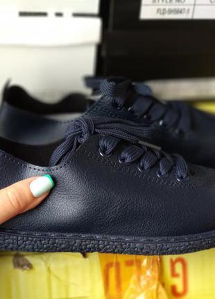 Кеды мокасины на шнурках темно синего цвета