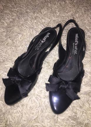 Туфли тапки балетки боссоножки с открытой пяткой чёрные лаковые what's what