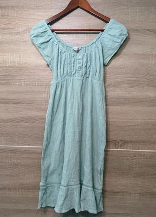 Мятное платье миди с воланом