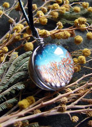 Оригинальный кулон стеклянный шар деревья