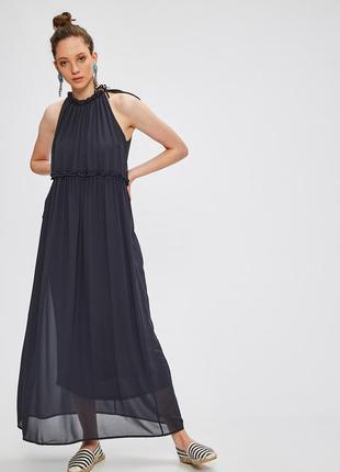 Темно - синее платье макси длинное тренд only (бесплатная доставка)