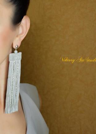Длинные серьги кисти кисточки с бахромой на клипсе или гвоздике