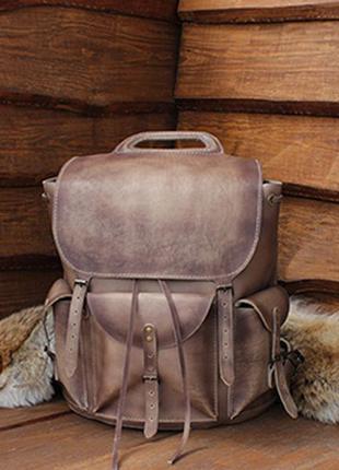 Отличный кожаный рюкзак, для мужчин любящих индивидуальность
