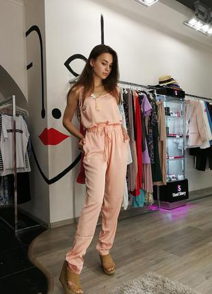 Шикарный шелковый пижамный летний костюм майка топ брюки персиковый беж