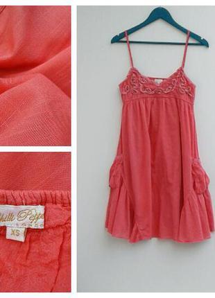 Нежно розовое платье на тонких лямках легкое летнее с карманами
