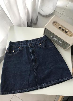 Юбка levis джинсовая оригинал юбка трапеция на высокую талию синий деним