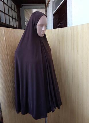Трикотажный длинный шоколадно коричневый  платок/ химар / пончо / хиджаб2