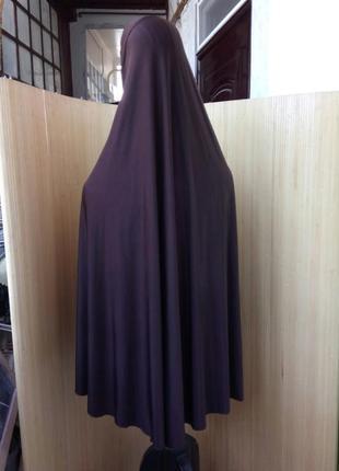 Трикотажный длинный шоколадно коричневый  платок/ химар / пончо / хиджаб3