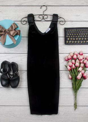 Платье велюровое черное от vero moda рр l