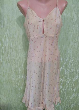 Нежный персиковый пеньюар/ночнушка/ночная сорочка/ с цветочным принтом/fiorente*италия