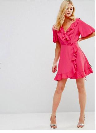 Платье asos мини ягодного цвета с оборками и запахом спереди asos