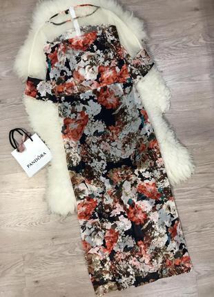 Шикарное шифоновое платье с вставкой сеточки