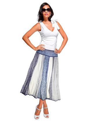 Шикарная летняя миди юбка, хлопок, оригинальный крой, легкая!