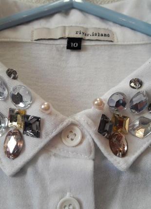 Блуза рубашка без рукавов ассиметрия декор камнями бренд river island