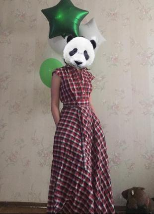 Платье в клетку с карманами и на пуговицах. размер xs/s