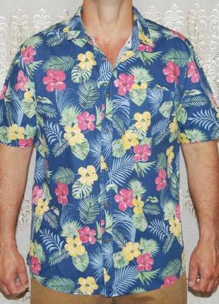 Рубашка синяя с гавайским рисунком