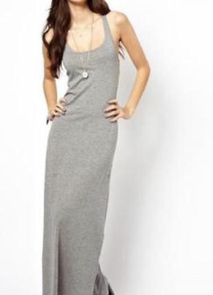 Стильное серое платье майка макси