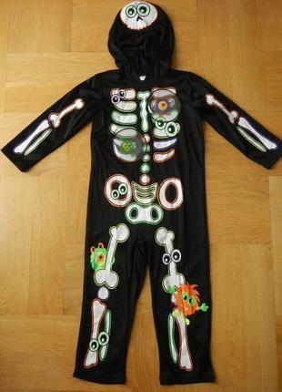 98-104 см george новый скелет костюм на хэллоуин карнавальный.